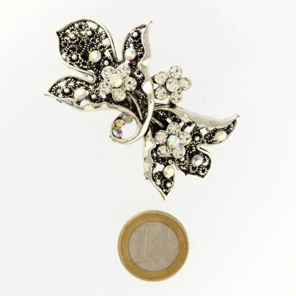 Petite barrette à cheveux argentée fleurs Lamia