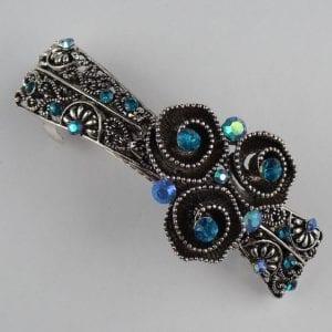 Grande barrette à cheveux argenté boutons de fleurs Danae