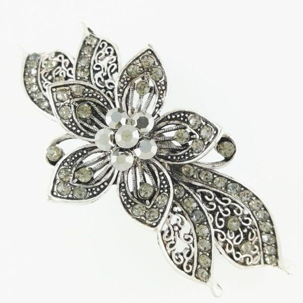 Grande barrette à cheveux argenté fleur Salva