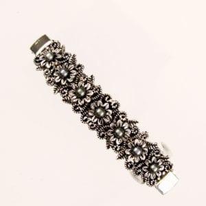 Petite barrette à cheveux argentée fleurs perle Zakia