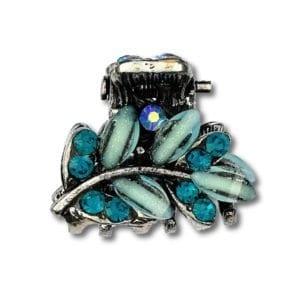 Petite pince crabe argentée Flaya - Bleu