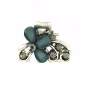 Petite pince crabe argentée Flora