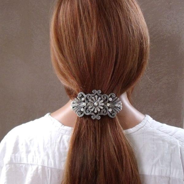 Grande barrette à cheveux argenté fleurs Princess