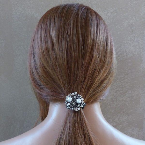 Elastique à cheveux bijou strass et perles Yula