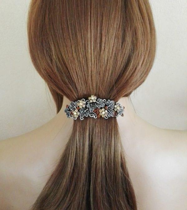 Grande barrette à cheveux argenté Bara