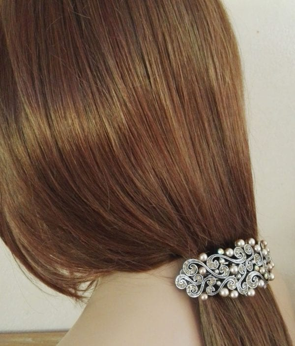 Grande barrette à cheveux argenté Gala