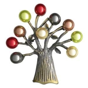 Broche Arbre de Vie Perles Nacrées - Multicolore