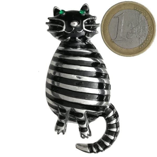 Broche Chat Strass en Cristal - Noir