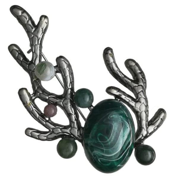 Broche Corail Perles Nacrées - Vert