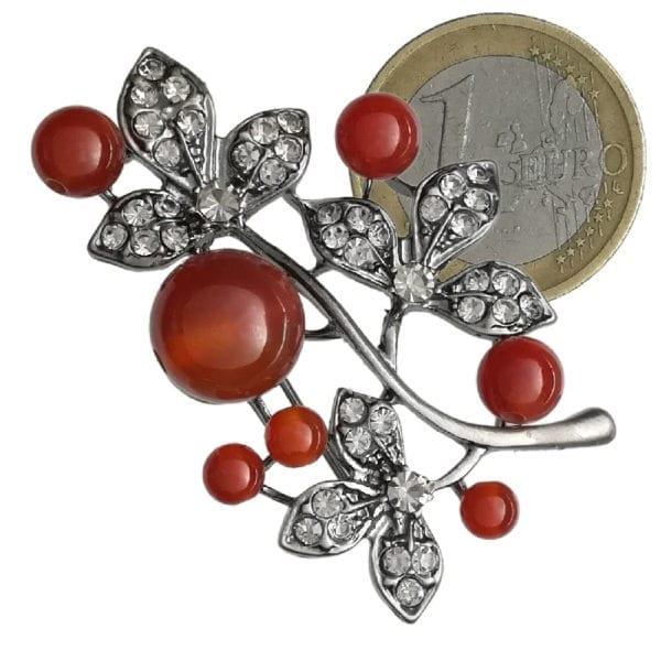 Broche Eglantine Strass en Cristal et Perles - Rouge