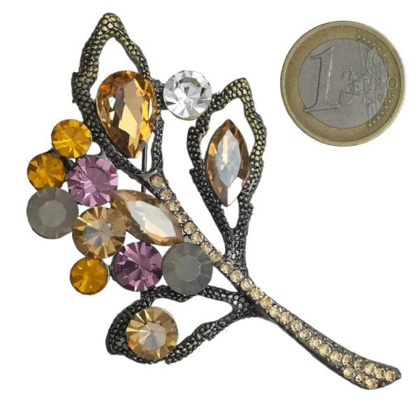 Broche Feuille Strass en Cristal - Orange