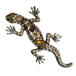 Broche Lézard Strass en Cristal - Orange