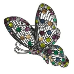 Broche Papillon Strass en Cristal - Multicolore