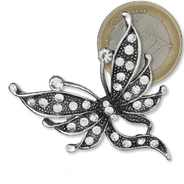 Broche Papillons Strass en Cristal