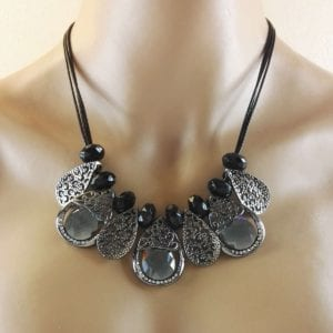 Collier fantaisie en métal argenté anthracite Elko