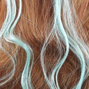 6 extensions mèche de cheveux – Turquoise clair