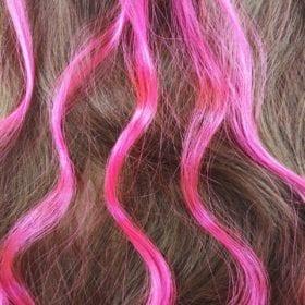 6 extensions mèche de cheveux – Rose fluo