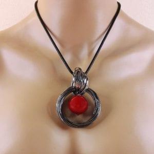 Sautoir métal argenté gris anthracite Lolita