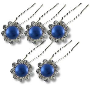lot-d'Épingles-perles-couleur-vive-et-strass-bleu