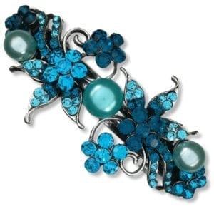 Grande barrette à cheveux Argentée Mabbina - Bleu