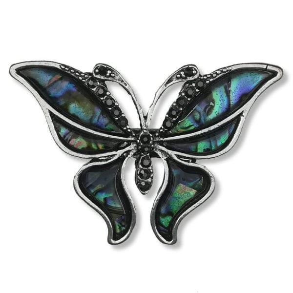 Broche Grand Papillons Strass en Cristal - Vert